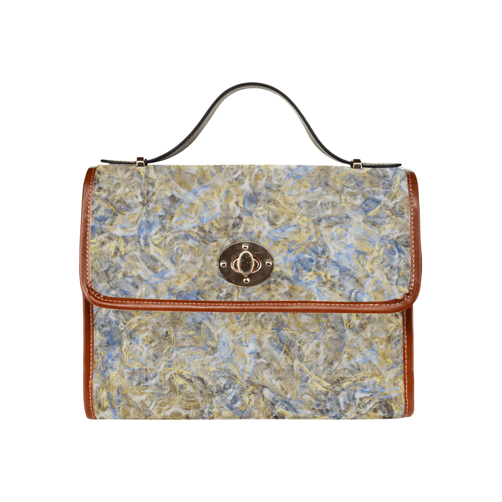 Marmortisch Gold Antique Anciently Gold Blue Vintage Marmor Design Waterproof Canvas Bag All Over Print Model 1641 Id D515639