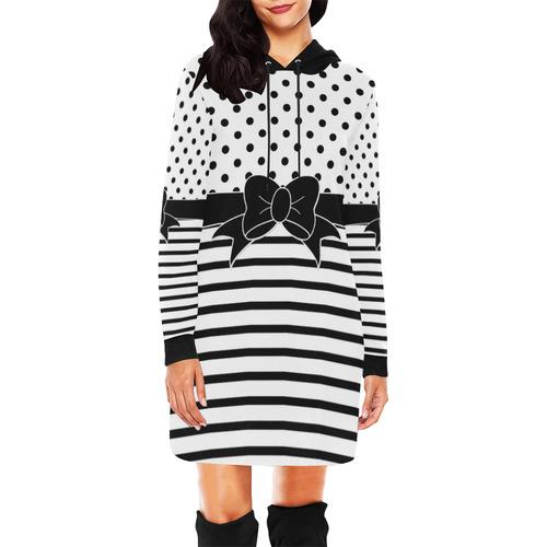 Polka Dots Stripes black white Comic Ribbon black All Over Print