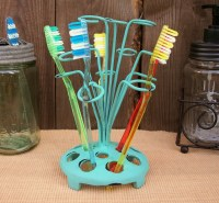 Vtg Antique Style Metal Flower Frog Toothbrush Holder ...