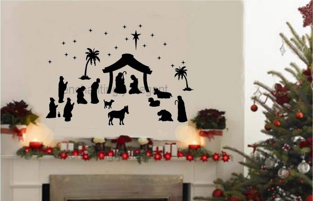 Outdoor Wall Christmas Decorations 36 Piece Large Nativity Set Vinyl Decal Wall Stickers
