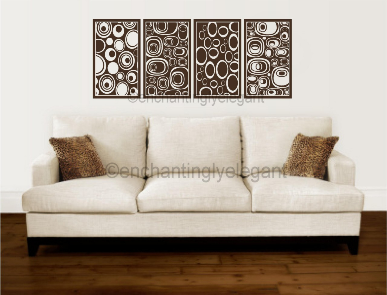 Modern Vinyl Wall Art Border Paneling Abstract Pebbles Circles Modern Wall Art
