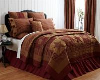 5PC PRIMITIVE BURGUNDY NINEPATCH STAR QUILT SHAMS SKIRT ...