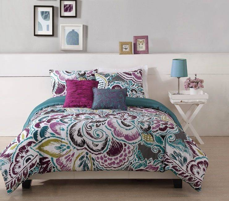 TEEN GIRL FLORAL TURQUOISE TROPIC TWIN FULL QUEEN KING