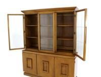 Vintage Mid Century Modern China Cabinet Breakfront Hutch