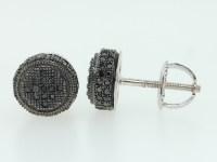 Men's 10K White Gold Pave Set Black Diamond 3D Circle Stud ...