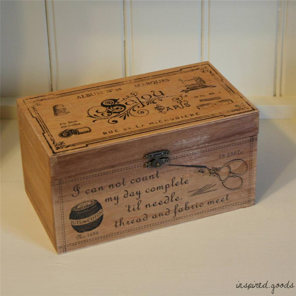 Vintage Wooden Storage Box French Shabby Chic Rustic