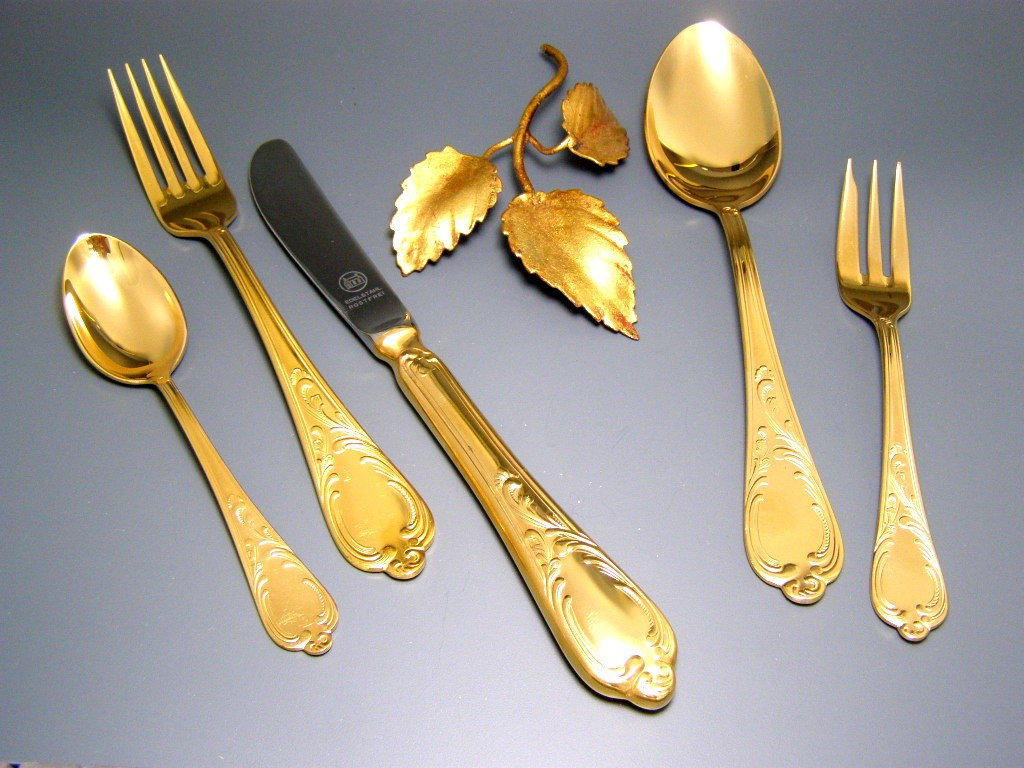 Zara Home Bestek 23 24 Carat Hard Gold Plated Gold Solingen Cutlery For 12