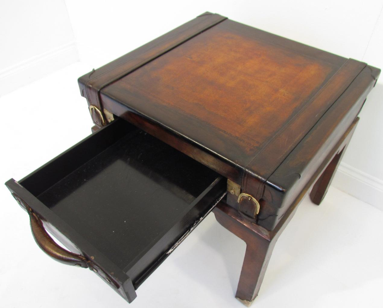 Quirky Tables A Quirky Antique Style Leather Suitcase On Stand Bedside