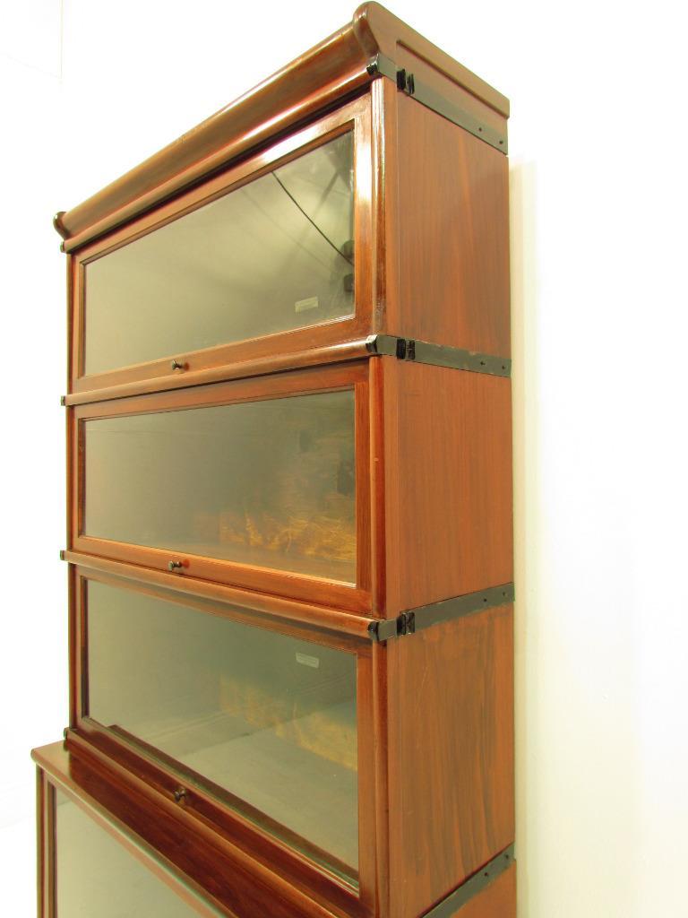 Antique Mahogany Globe Wernicke 4 Deep Stack Bookcase