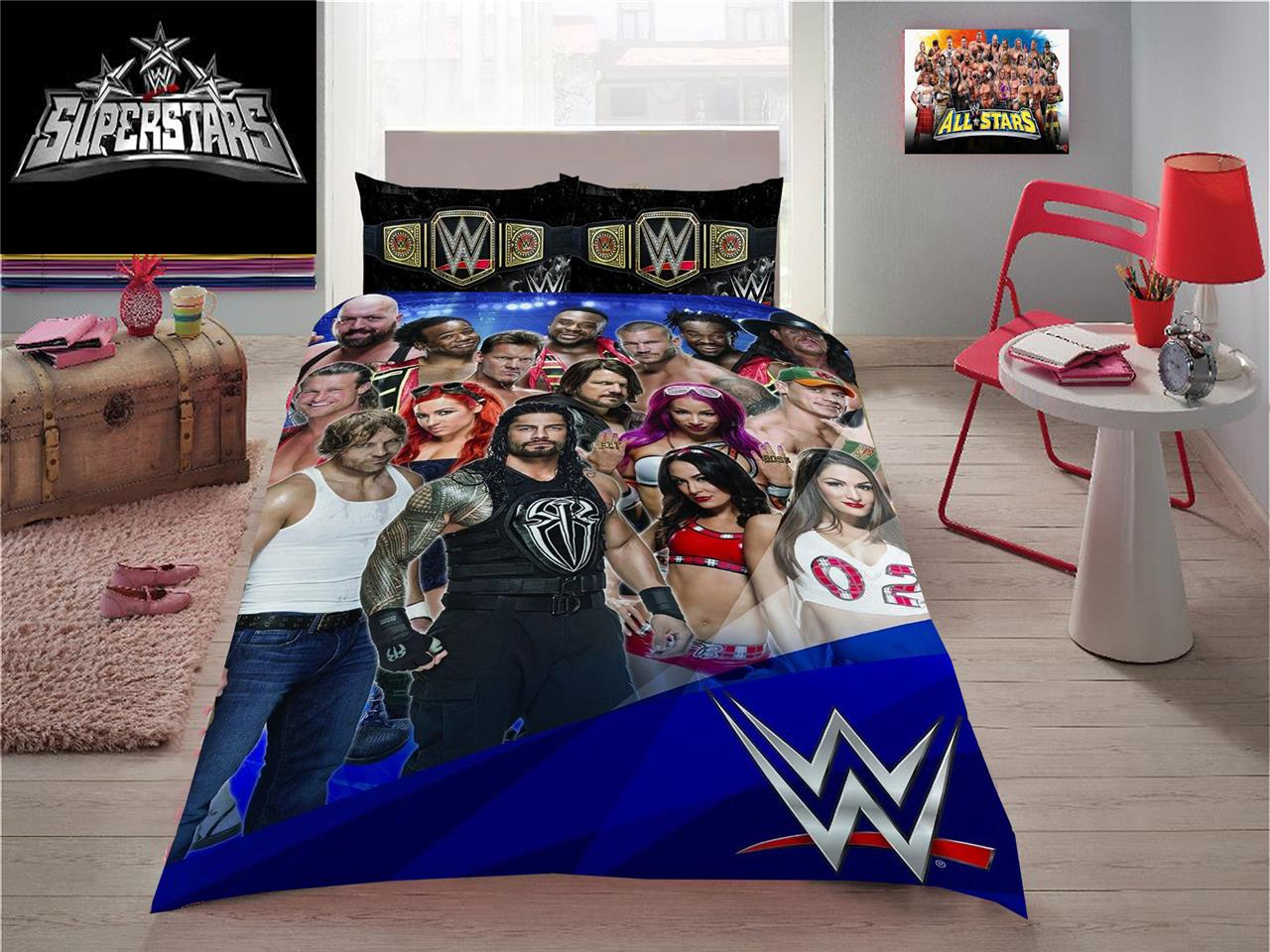 Big W Queen Quilt Covers Wwe Wrestling Stars John Cena Triple H Roman Double Size