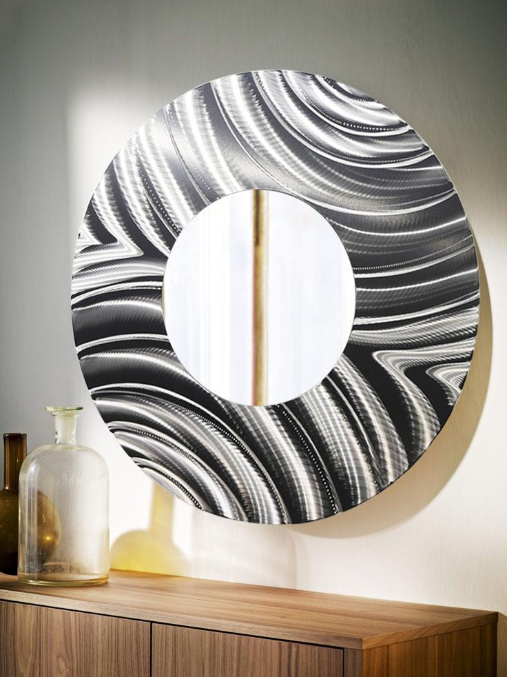 Wall Mirror No Nails Large Round All Silver Metal Wall Mirror Modern Wall Art