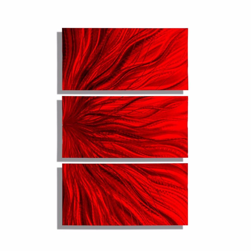 Red Modern Metal Wall Art Sculpture, Abstract Metal Wall