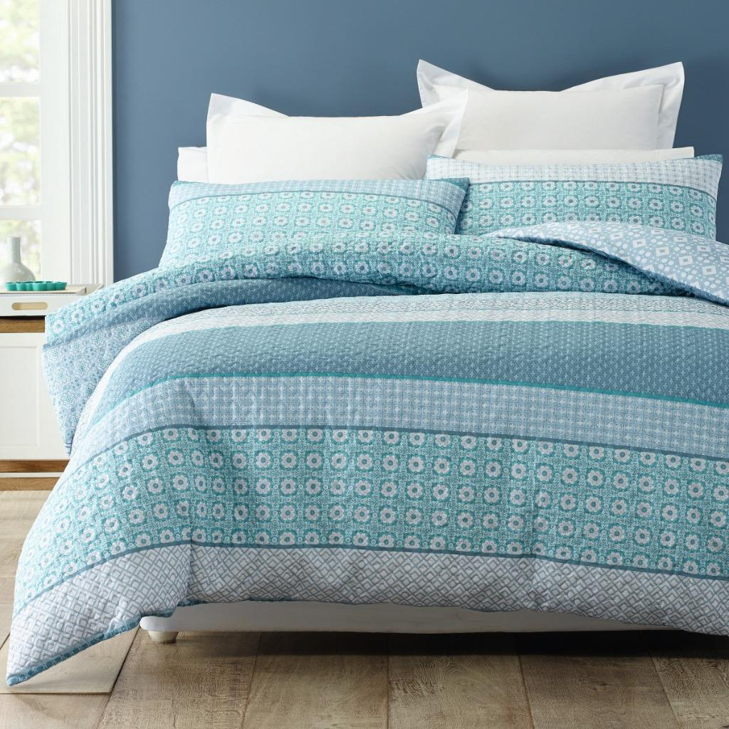 Teal Quilt Cover Trebah Teal Blue White Quilted Queen*king Quilt Doona
