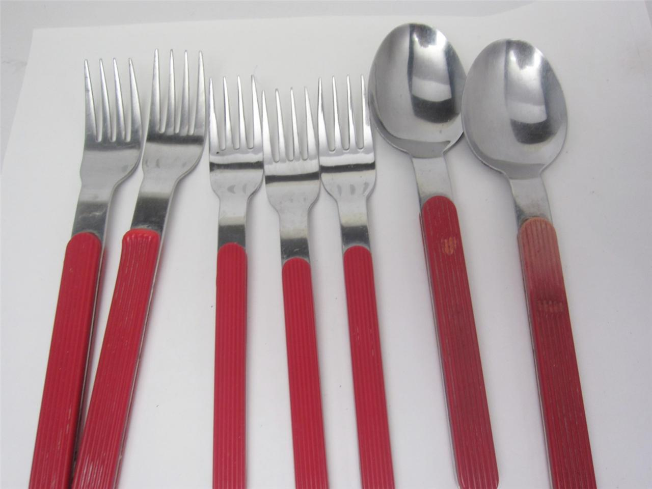 Red Handle Flatware Crown Corning Retro Vintage Stainless Flatware Red Handle Korea