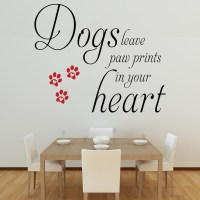 Dogs Leave Paw Prints Wall Decal Quote Sticker Lounge ...