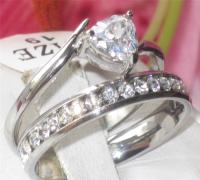 STR293 Wedding Band Set Trillion Cut Simulated Diamond ...