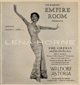 Image result for lena horne at the empire room waldorf