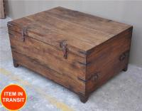rustic primitive solid wood storage trunk coffee table new ...