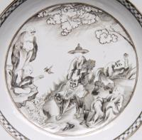 RARE! antique GRISAILLE PLATE Chinese Porcelain dish 18th ...