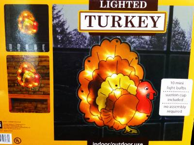 Decoration~LIGHTED SHIMMERING THANKSGIVING TURKEY WINDOW