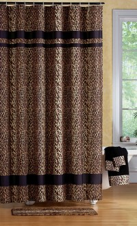 Leopard Print Bathroom Set- Shower Curtain Rugs Towels ...