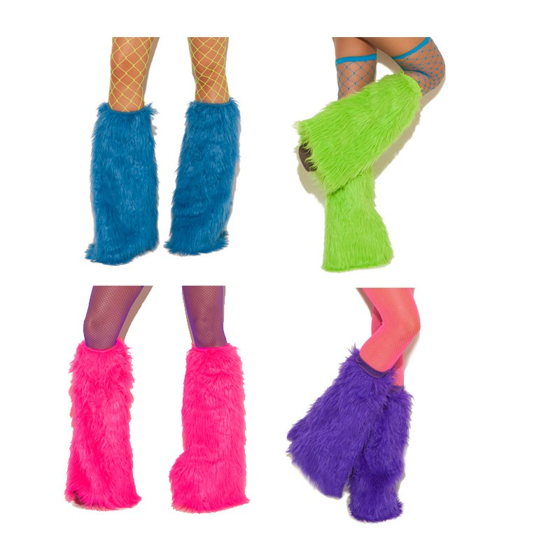 Furry Boot Covers Fuzzy Legwarmers Costume Clubwear Rave