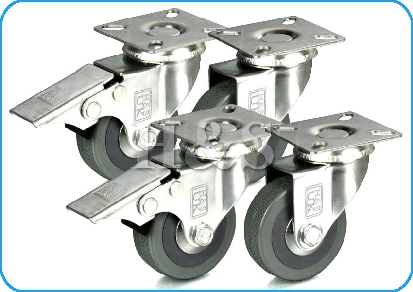 4 X Heavy Duty 50mm Rubber Swivel Castor Wheels Trolley