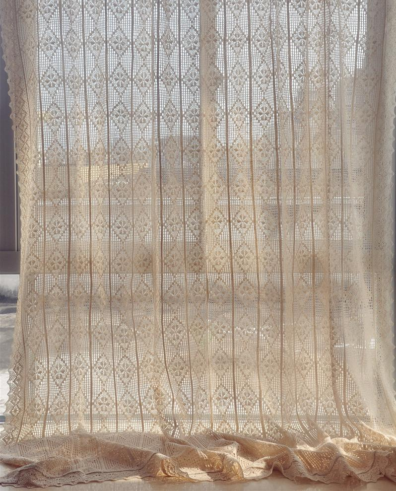 French Lace Curtains 71 X94 French Country Style Cotton Linen Beige Hand Crochet