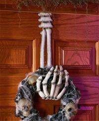 SKELETON HAND WREATH HANGER HALLOWEEN DOOR WALL SPOOKY ...