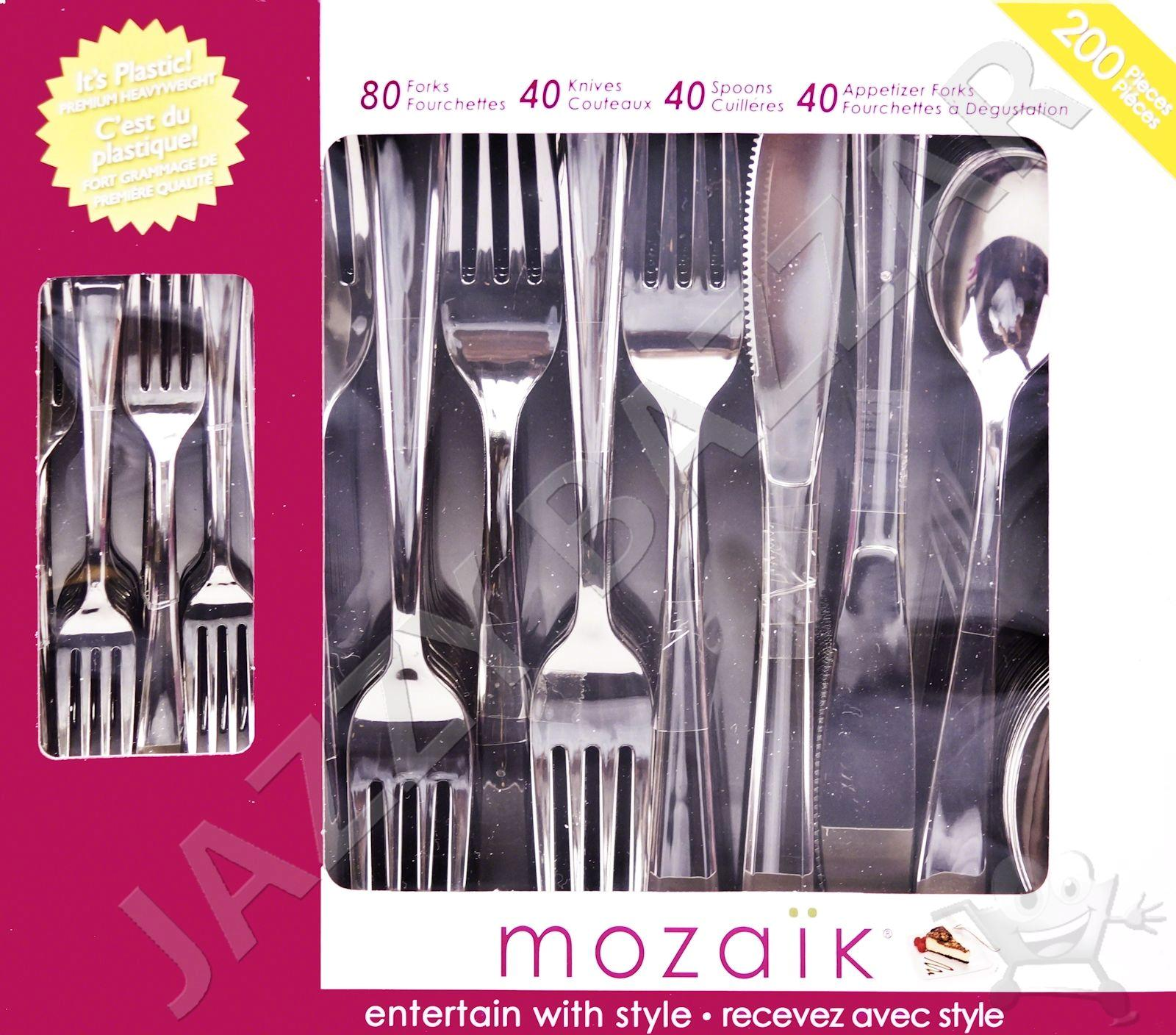 Best Deal On Silverware 200 Disposable Plastic Cutlery Mozaik Silverware Silver