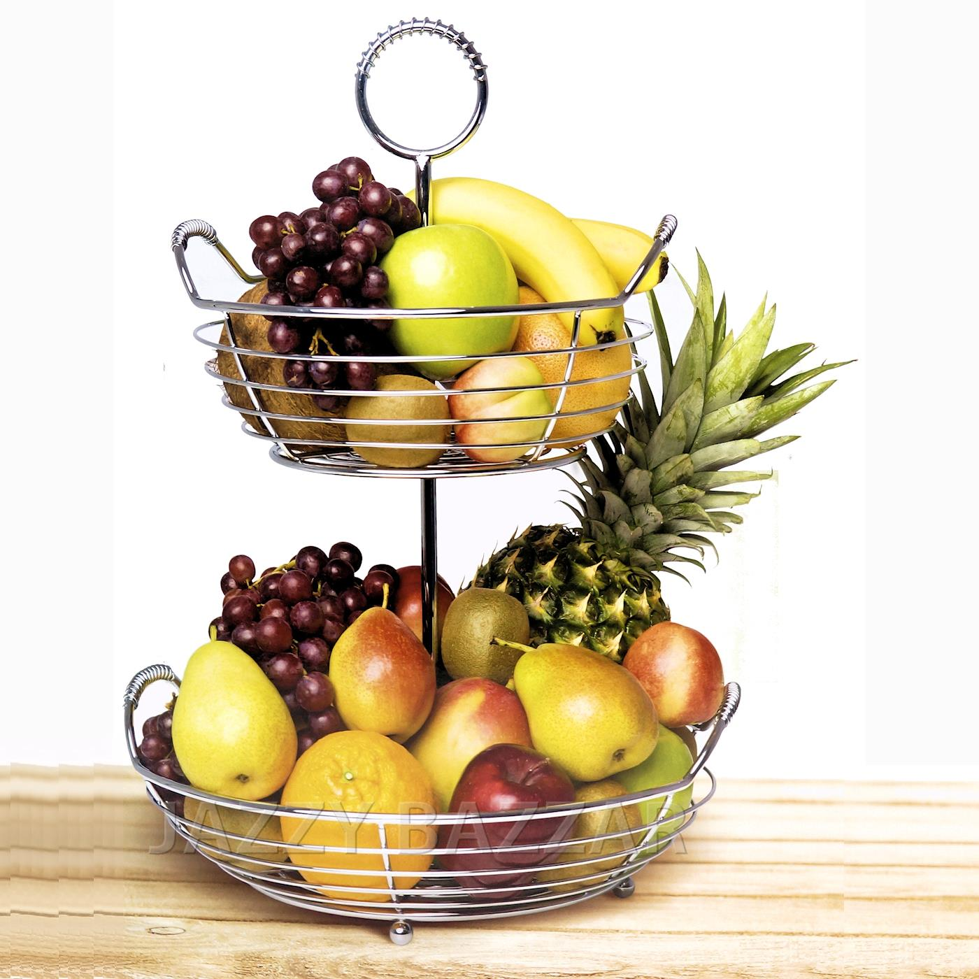 Chrome Decorative Bowl Sohome 2 Tier Steel Wire Round Fruit Basket Bowl Home
