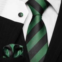 Black & Green Striped Tie Set - College Necktie - Striped ...