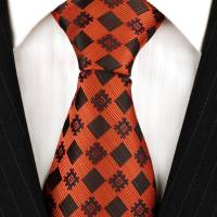 Orange & Black Checkered Neckties | Silk Ties | Mens Ties ...