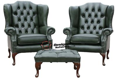 2 Xchesterfield Mallory Queen Anne High Back Wing Chairs