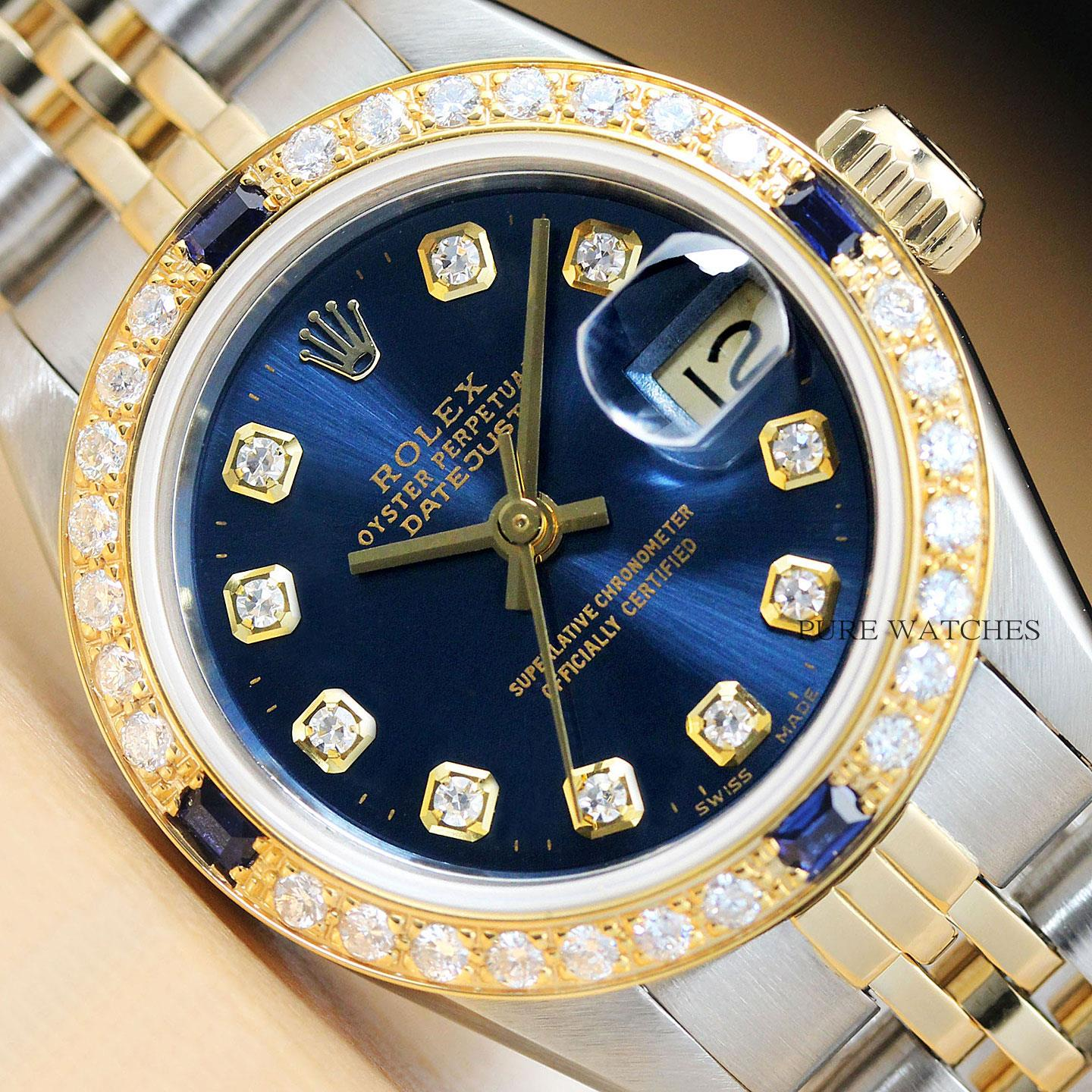 Rolexs Watches Details About Rolex Ladies Datejust 18k Yellow Gold Diamond Sapphire Steel Blue Dial Watch