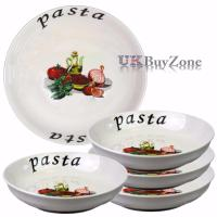 Large 5 Piece Pasta Bowls Plates Dinner Set Spaghetti ...