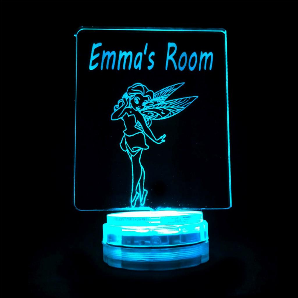 Red Night Light For Nursery Fairy Princess Personalised Name Night Light Novelty