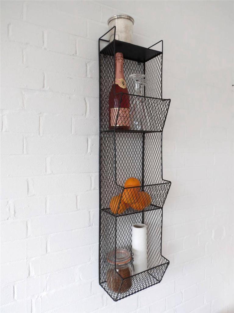 Kitchen Metal Wall Wire Rack Storage Shelf Black
