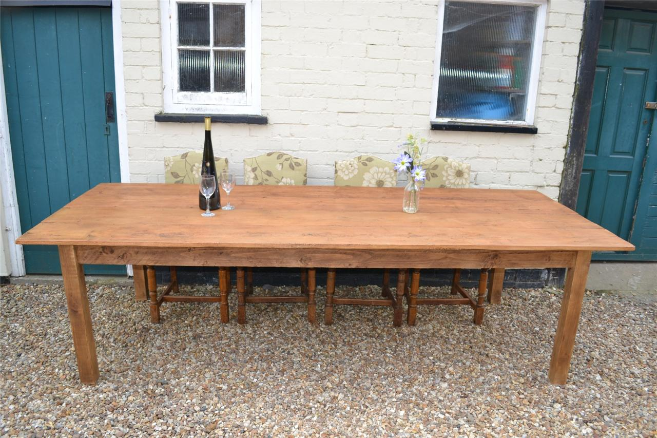 Kitchen Table Seats 10 Hand Made Reclaimed Georgian Pine 9ft Farmhouse Kitchen
