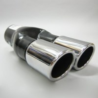 Chrome Universal New Dual Twin Exhaust Pipes Muffler Trim