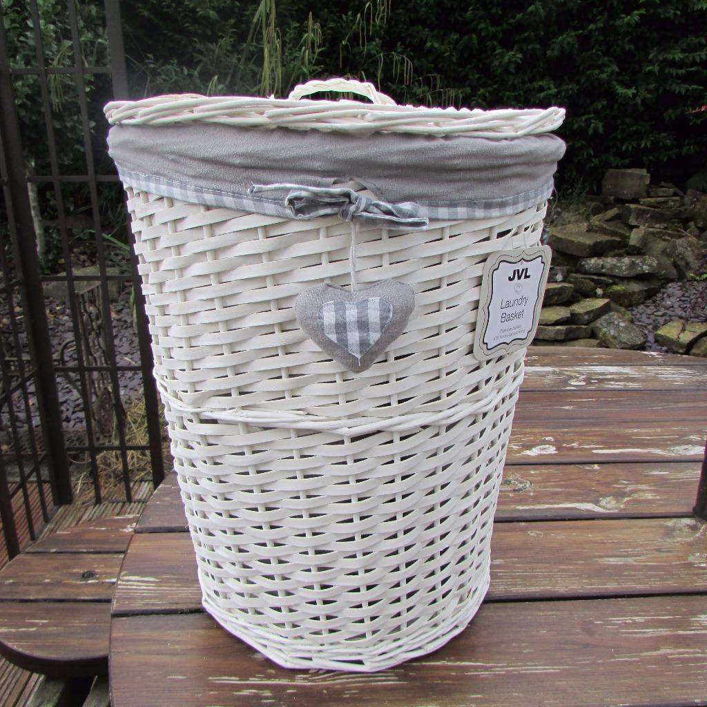 Grey Gingham Heart White Wicker Laundry Basket Round Linen