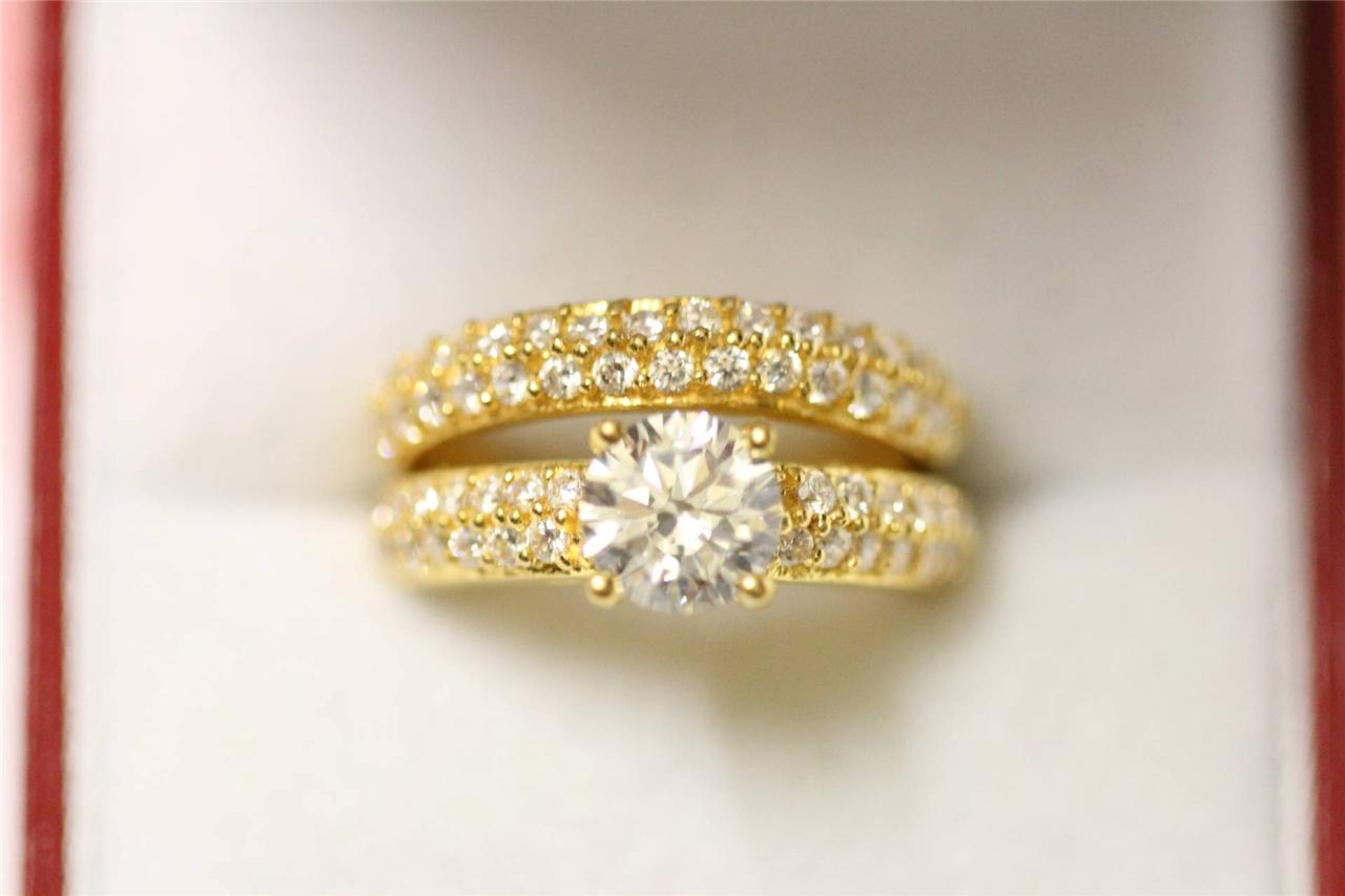 ebay wedding rings sets Image is loading 22ct stunnung gold engagement wedding ring set
