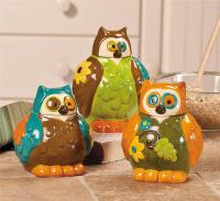 Owl Canisters Jars - Kitchen Decor - Set of 3 NEW | eBay