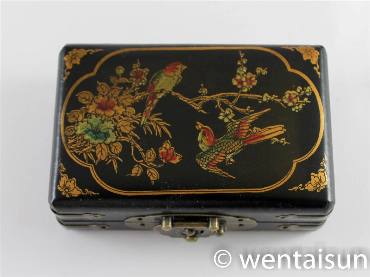 Vintage Style Jewellery Box Small Wooden Chinese Oriental Antique Style Jewellery Box