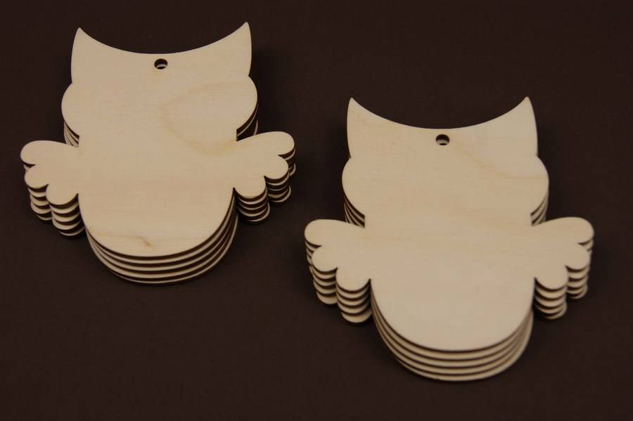 10x Wooden Owl Shapes Gift Tags Bird Blank Decoration Craft DIY Wood