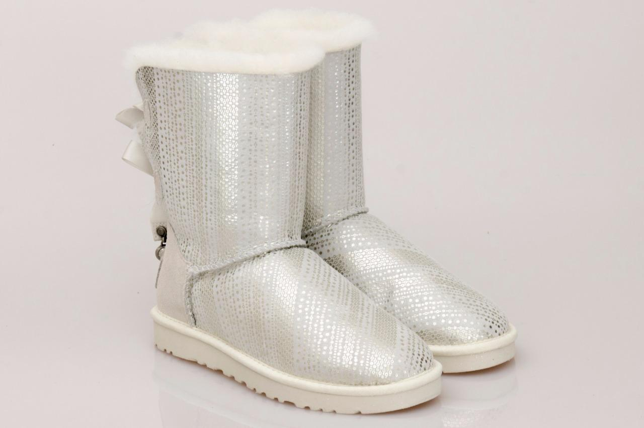 Ugg Womens Bailey Bow Bling Classic Boots White