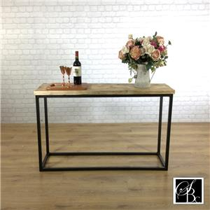 Industrial console hall table wood vintage metal pine