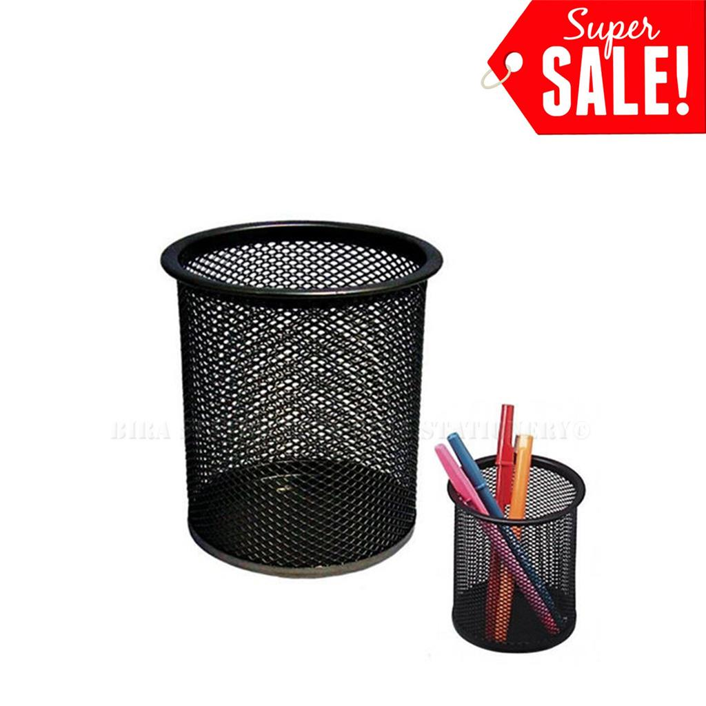 Pen Cup Holder Black Steel Mesh Desk Pen Pencil Organiser Cup Holder