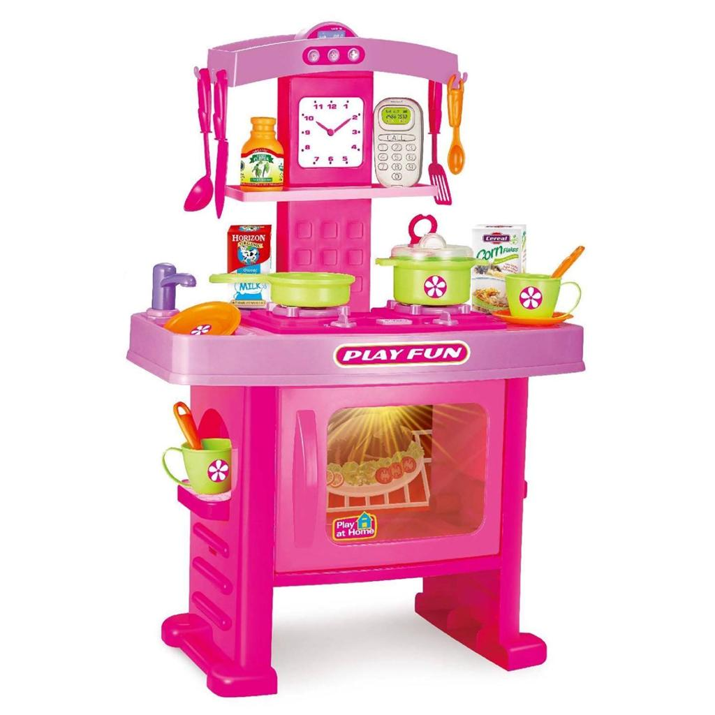Childrens Toy Kitchen Pink Electronic Childrens Kids Kitchen Cooking Role Play