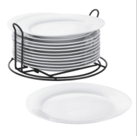 Cooks Set of 12 Stackable Catering Dinner Plates with Wire ...